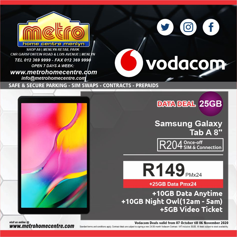 Buy Vodacom 25gb Data Contract Free Samsung Galaxy Tab A 8 Tablet Online Metro Home Centre South Africa